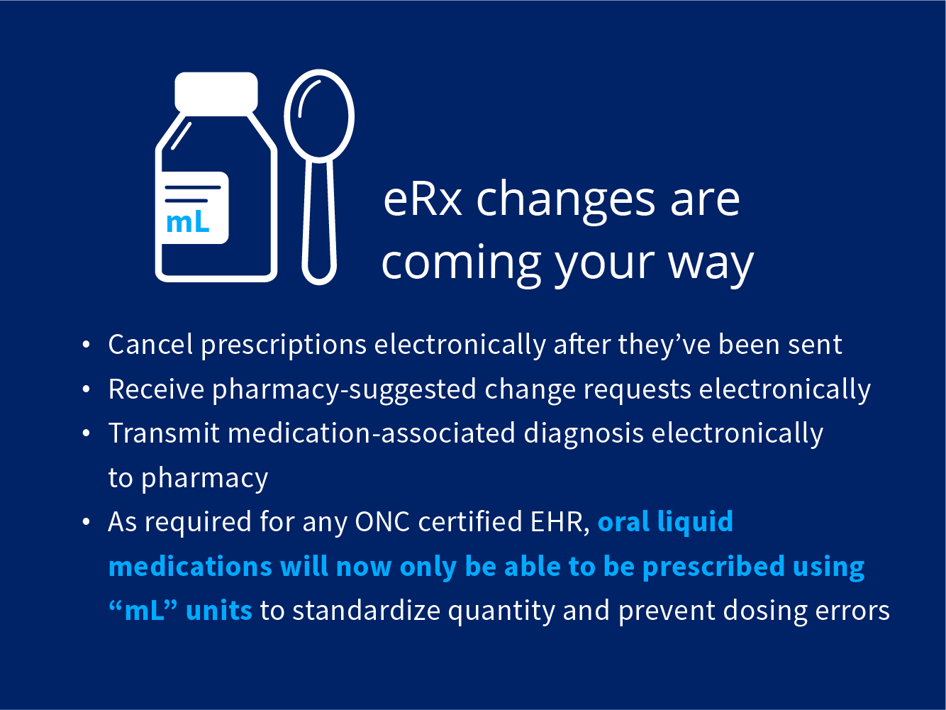 eRx changes are coming your way. 1) Cancel prescriptions electronically after they've been sent. 2) Receive pharmacy-suggested change requests electronically. 3) Transmit medication-associated diagnosis electronically to pharmacy. 4) As required for any ONC certified EHR, oral liquid medications will now only be able to be prescribed using mL units to standardize quantity and prevent dosing errors.