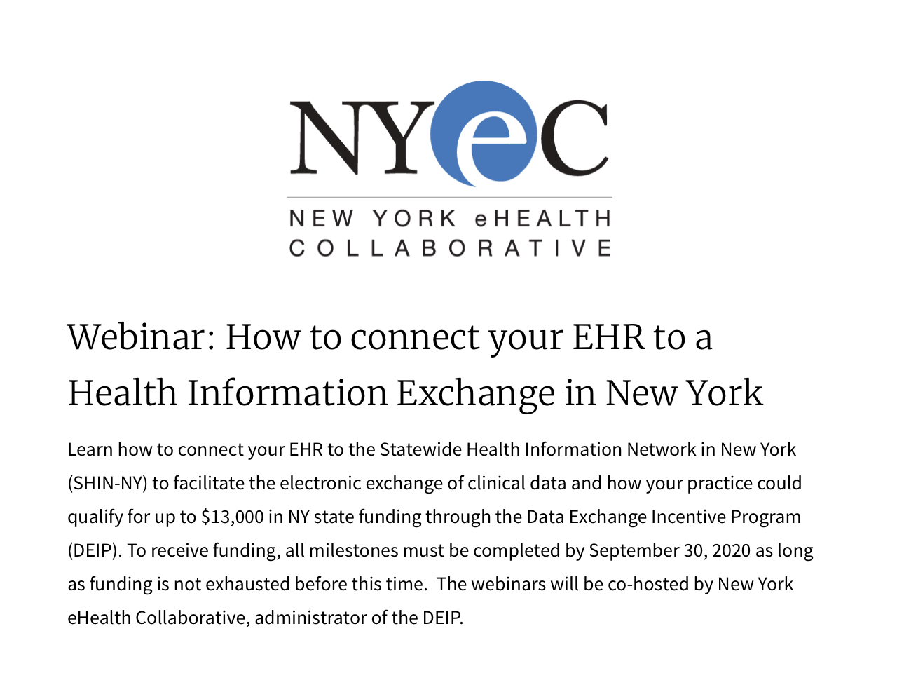 Webinar: How to connect your EHR to a Health Information Exchange in New York