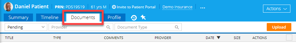 Documents Tab in Patient Chart
